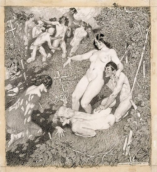 An image of Bacchanal or The vintage festival by Norman Lindsay