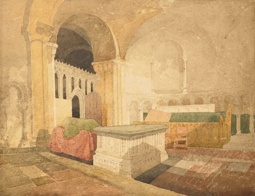 An image of The Jesus Chapel, Norwich Cathedral with the tomb of Sir Thomas Windham by John Sell Cotman