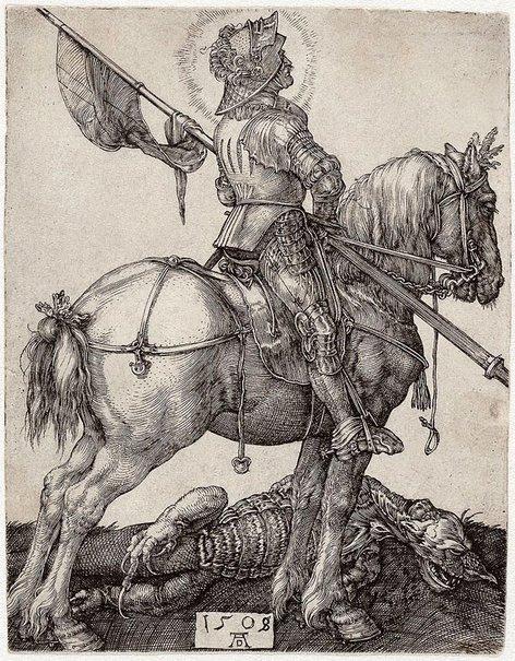 An image of St George on horseback by Albrecht Dürer