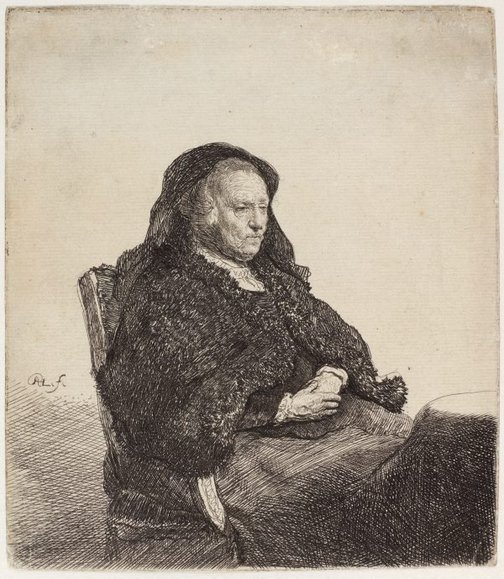 An image of Rembrandt's mother, seated by Rembrandt Harmensz. van Rijn