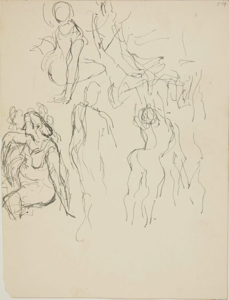 An image of (Seated woman and figures) (Early Sydney period) by William Dobell