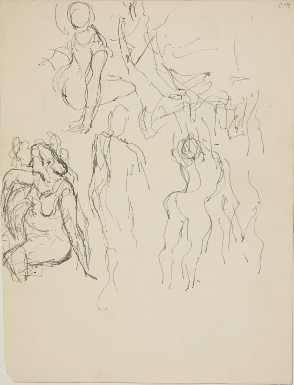 An image of (Seated woman and figures) (Early Sydney period)