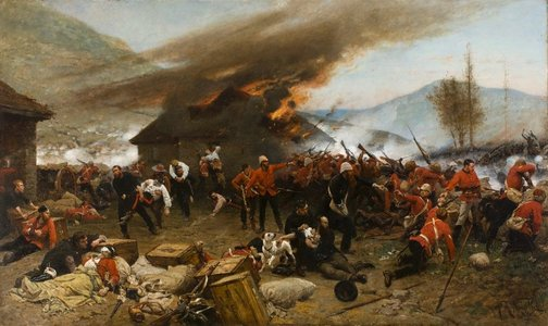 An image of The defence of Rorke's Drift 1879 by Alphonse de Neuville