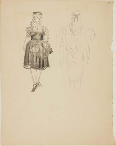 An image of (Female figure studies; front and back) (Early Sydney period) by William Dobell