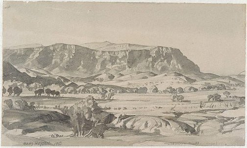 An image of Raunsley's Bluff by Hans Heysen