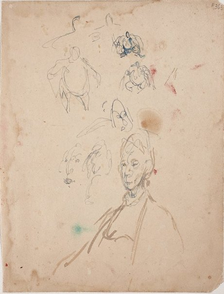 An image of Sheet of studies with Dame Mary Gilmore by William Dobell