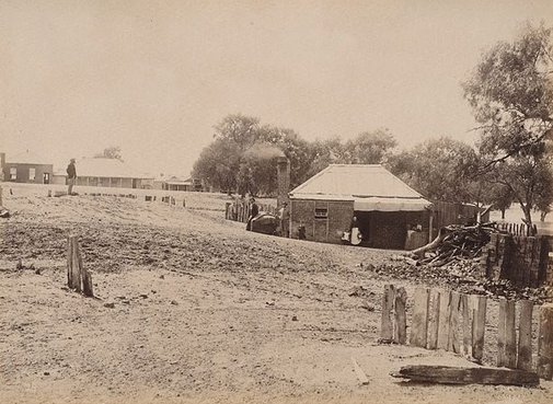 An image of Menindie, Darling River, showing effect of sand-drift by Charles Bayliss