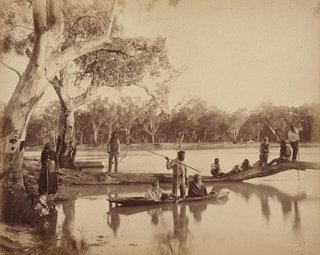 AGNSW collection Charles Bayliss Group of local Aboriginal people, Chowilla Station, Lower Murray River, South Australia (1886) 74.1984.36