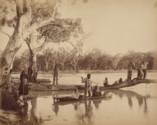 An image of Group of local Aboriginal people, Chowilla Station, Lower Murray River, South Australia by Charles Bayliss