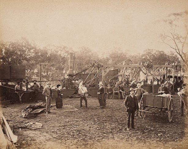 An image of Wool-washing at Gundabooka Station, Darling River