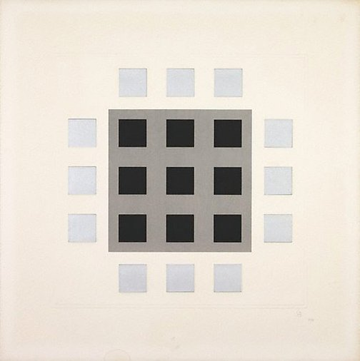 An image of (Grey, black squares) by Jesus-Rafael Soto