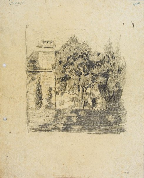 An image of Trees and house chimney by Lloyd Rees