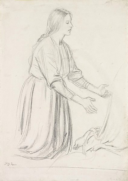 An image of Woman kneeling with arms outstretched