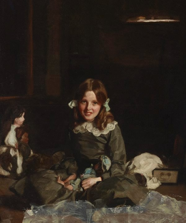 An image of Mona and her dolls