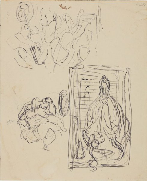 An image of (Figure studies with cellos) (Early Sydney period) by William Dobell