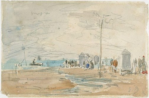 An image of Le grand bain, Trouville by Eugène Boudin