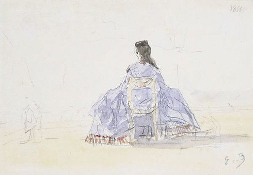 An image of (The Crinoline) by Eugène Boudin