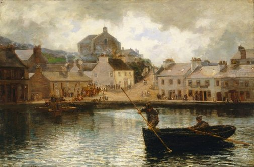 An image of Catching dabs; View in Tarbert Harbour, Scotland by Hamilton Macallum
