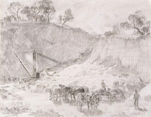 An image of The quarry by Hans Heysen