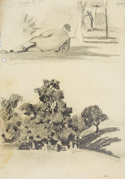 An image of Man reclining in park and Park with figures by Lloyd Rees