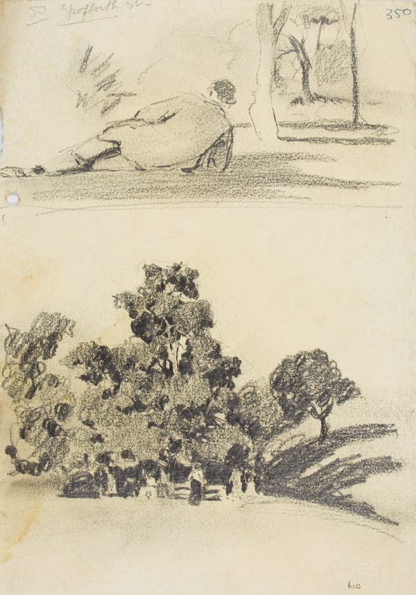 An image of Man reclining in park and Park with figures