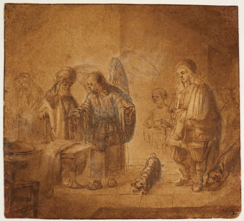 An image of The angel visiting Tobit and his family by Constantin Adrien Renesse