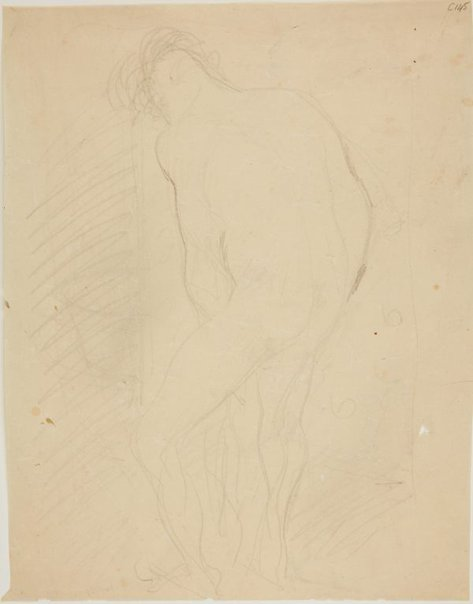 An image of (Nude figure study, man from behind) (Early Sydney period) by William Dobell