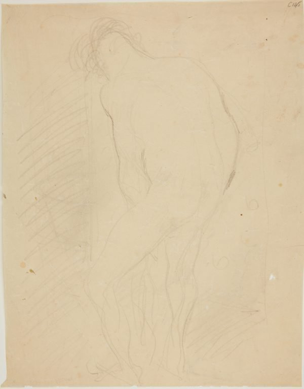 An image of (Nude figure study, man from behind) (Early Sydney period)