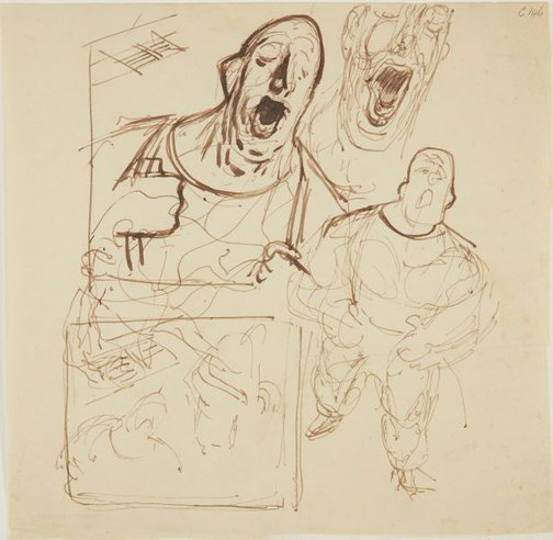 An image of (Studies of man singing) (Early Sydney period) by William Dobell