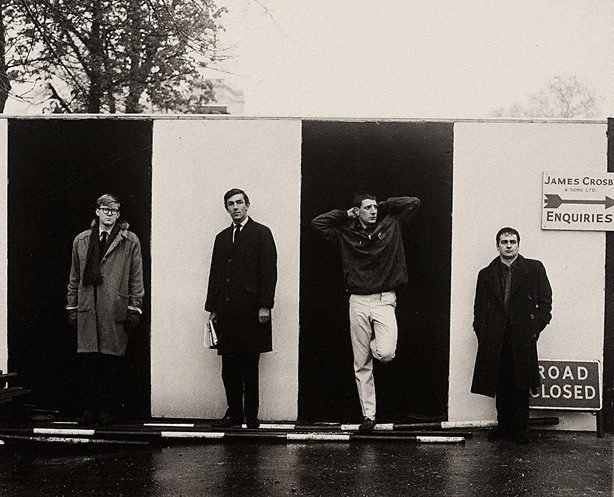 An image of Peter Cook, Dudley Moore, Alan Bennett and Jonathan Miller for 'Beyond the fringe' publicity, London