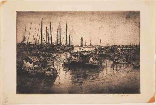 An image of Old junks in Shanghai Harbour (large plate) by Mortimer L Menpes