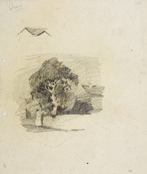 An image of recto: Tree with house and figure verso: Landscape details by Lloyd Rees