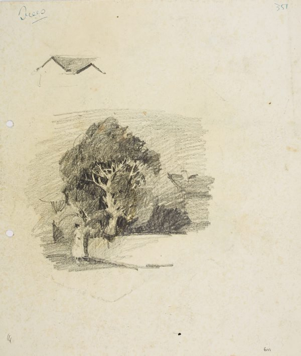 An image of recto: Tree with house and figure verso: Landscape details