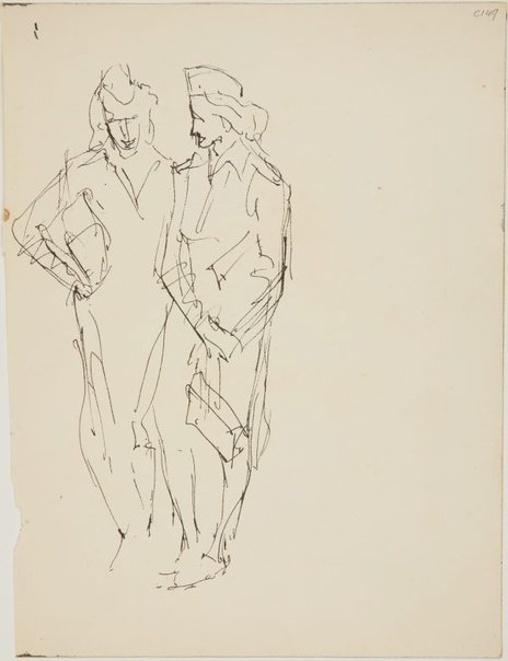An image of (Two women conversing) (Early Sydney period) by William Dobell