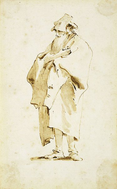 An image of Bearded man in a cap and cloak by Giambattista Tiepolo