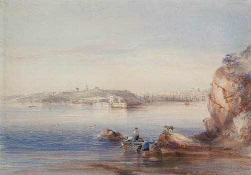 An image of Fort Macquarie, Bennelong Point, from the North Shore by Conrad Martens