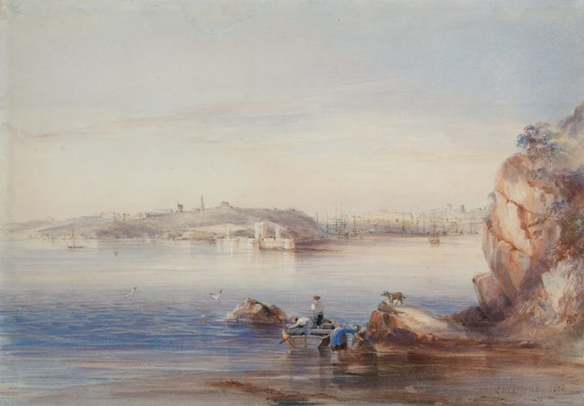 An image of Fort Macquarie, Bennelong Point, from the North Shore