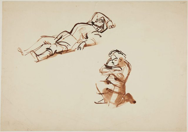 An image of (Figure studies; man reclining, figure kneeling) (Early Sydney period)