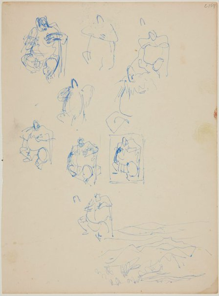 An image of (Figure studies of fat man) (Early Sydney period) by William Dobell