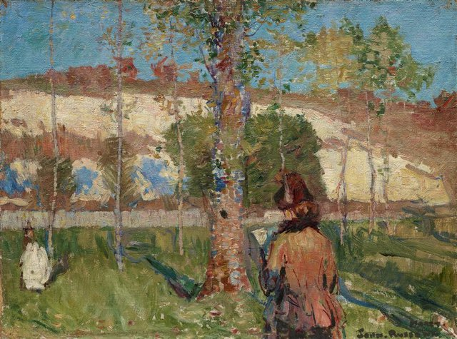 An image of Madame Sisley on the banks of the Loing at Moret