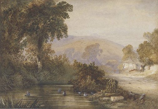 An image of Landscape (with streams and ducks, two cottages and figures) by Thales or Newton Fielding