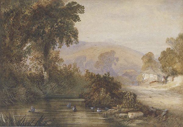 An image of Landscape (with streams and ducks, two cottages and figures)