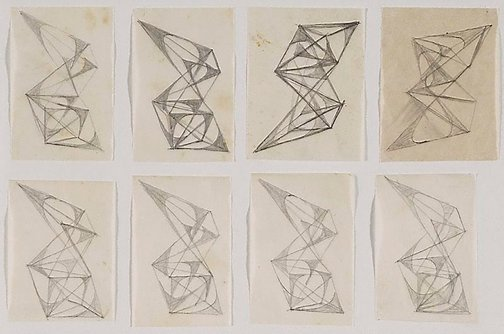 An image of Eight studies for abstract sculptures by Margel Hinder