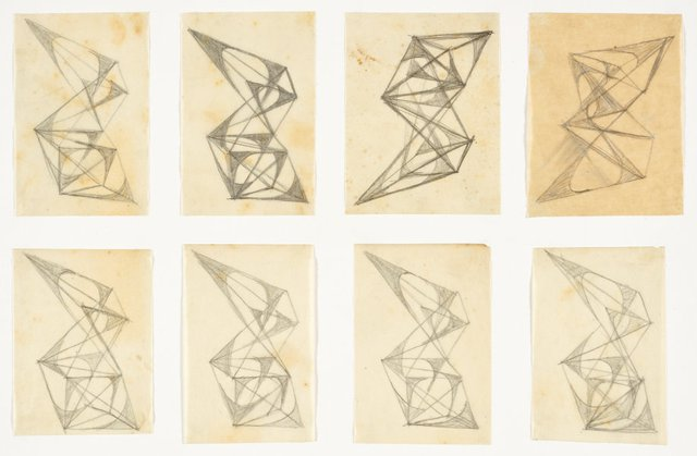 An image of Eight studies for abstract sculptures