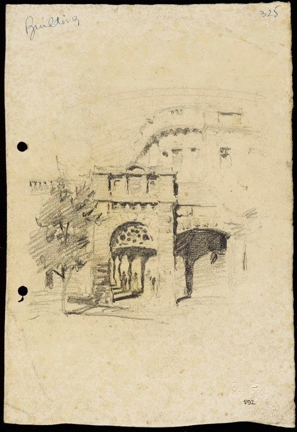 An image of recto: Colonnade of Central Station verso: Three portraits [upside down]