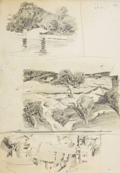 An image of Wooded hillside and house by the water, Trees on rocky hillside and Street of houses by Lloyd Rees