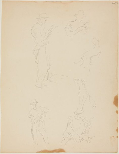 An image of (Studies of man with hat) (Early Sydney period) by William Dobell