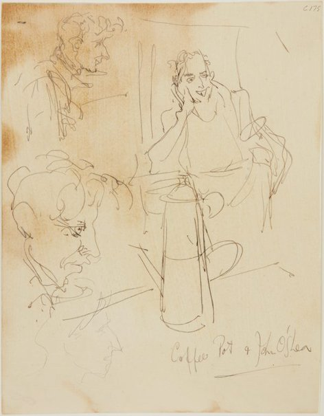 An image of Coffee pot and John O'Shea (Early Sydney period) by William Dobell