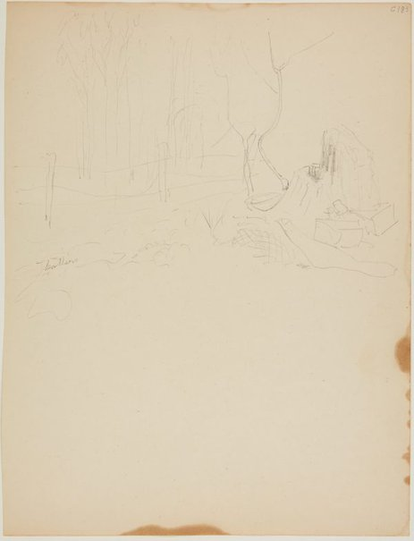 An image of (Camp by fence) (Early Sydney period) by William Dobell
