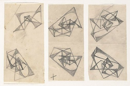 An image of Six studies for abstract sculptures by Margel Hinder